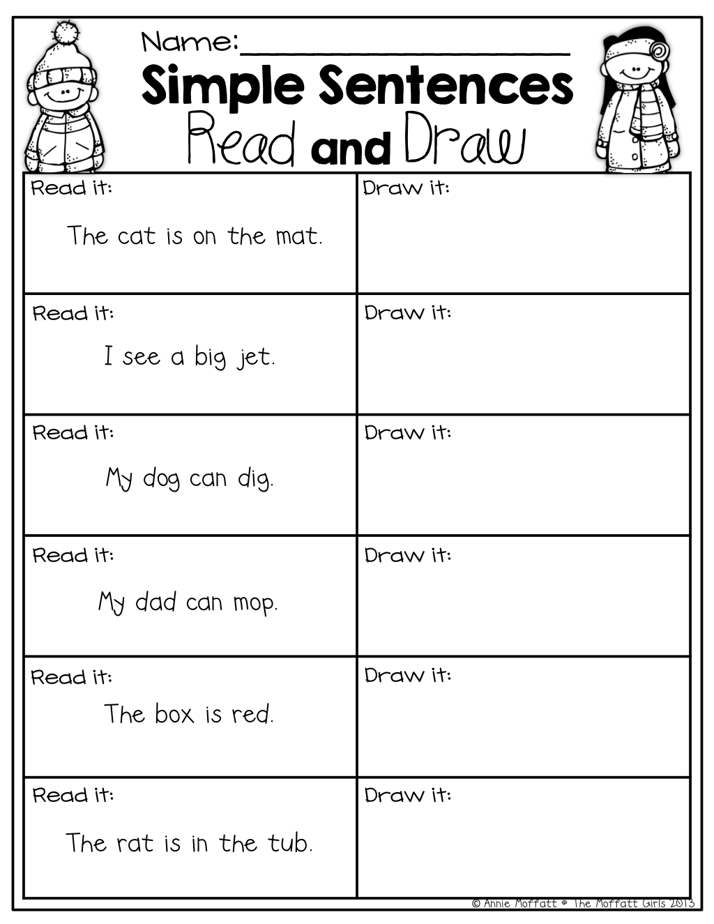 Simple Sentences With Sight Words And Cvc Words (read And Draw