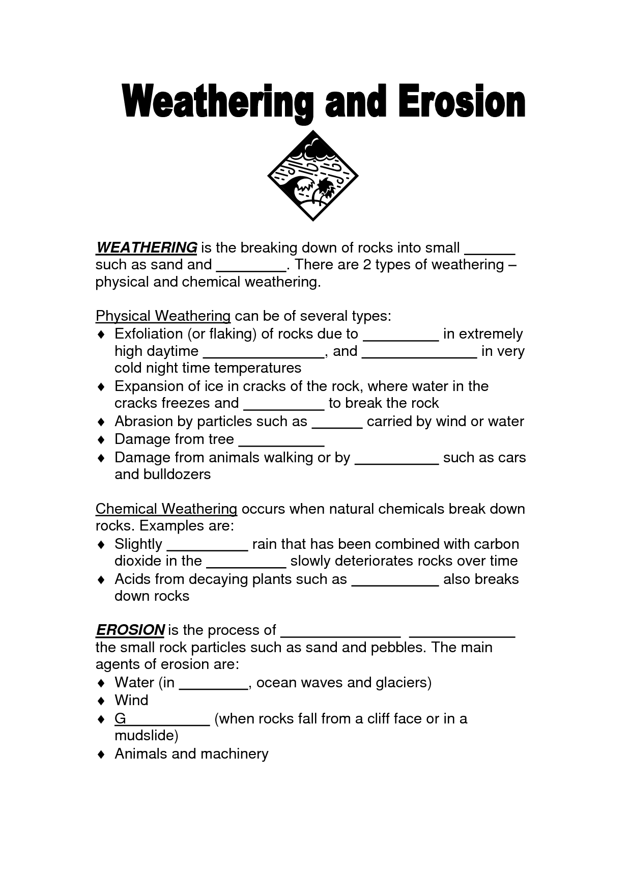 Soil Erosion Diagram Weathering And Erosion 4th Grade Worksheets