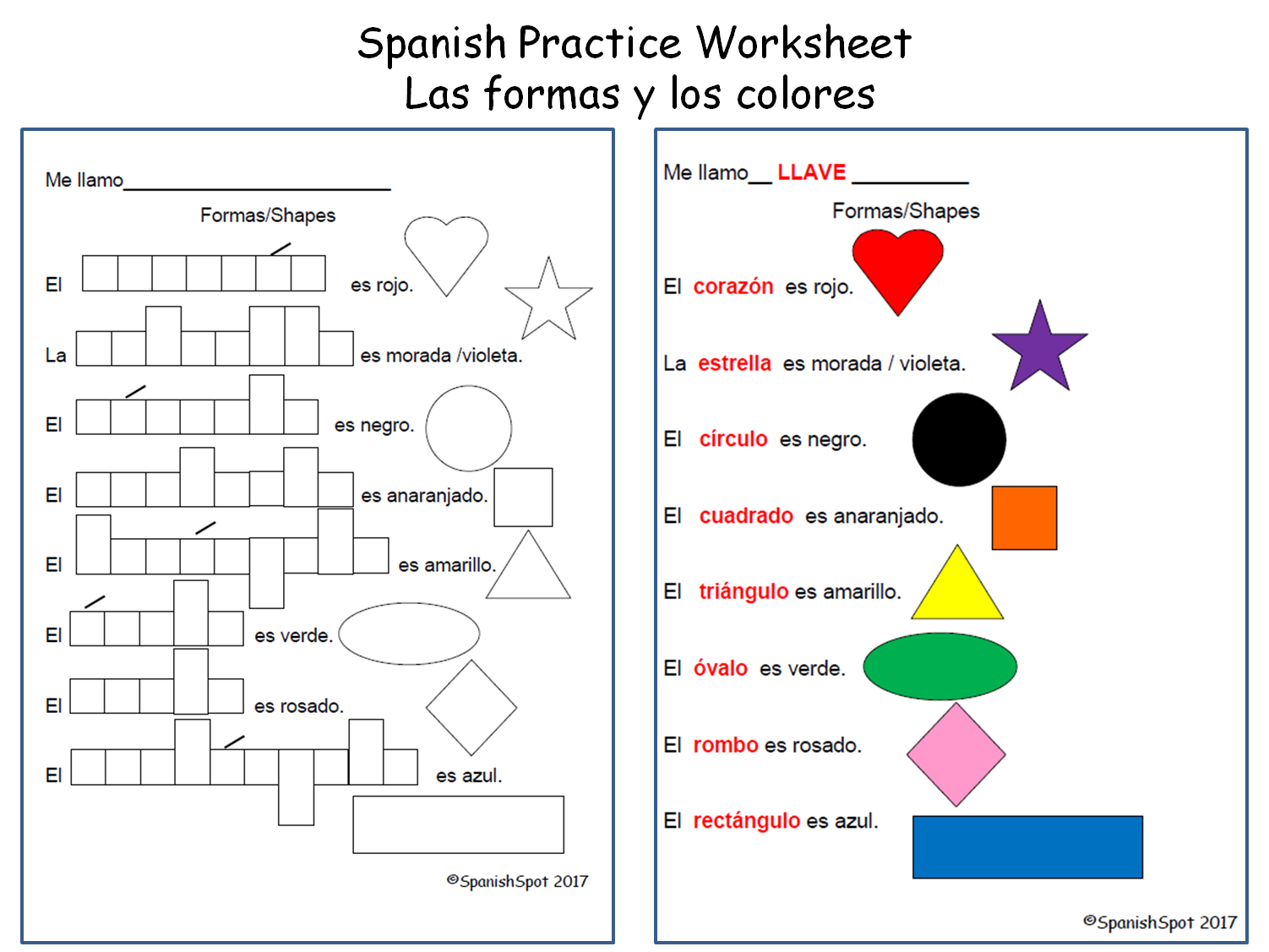 Spanish Shapes Worksheets