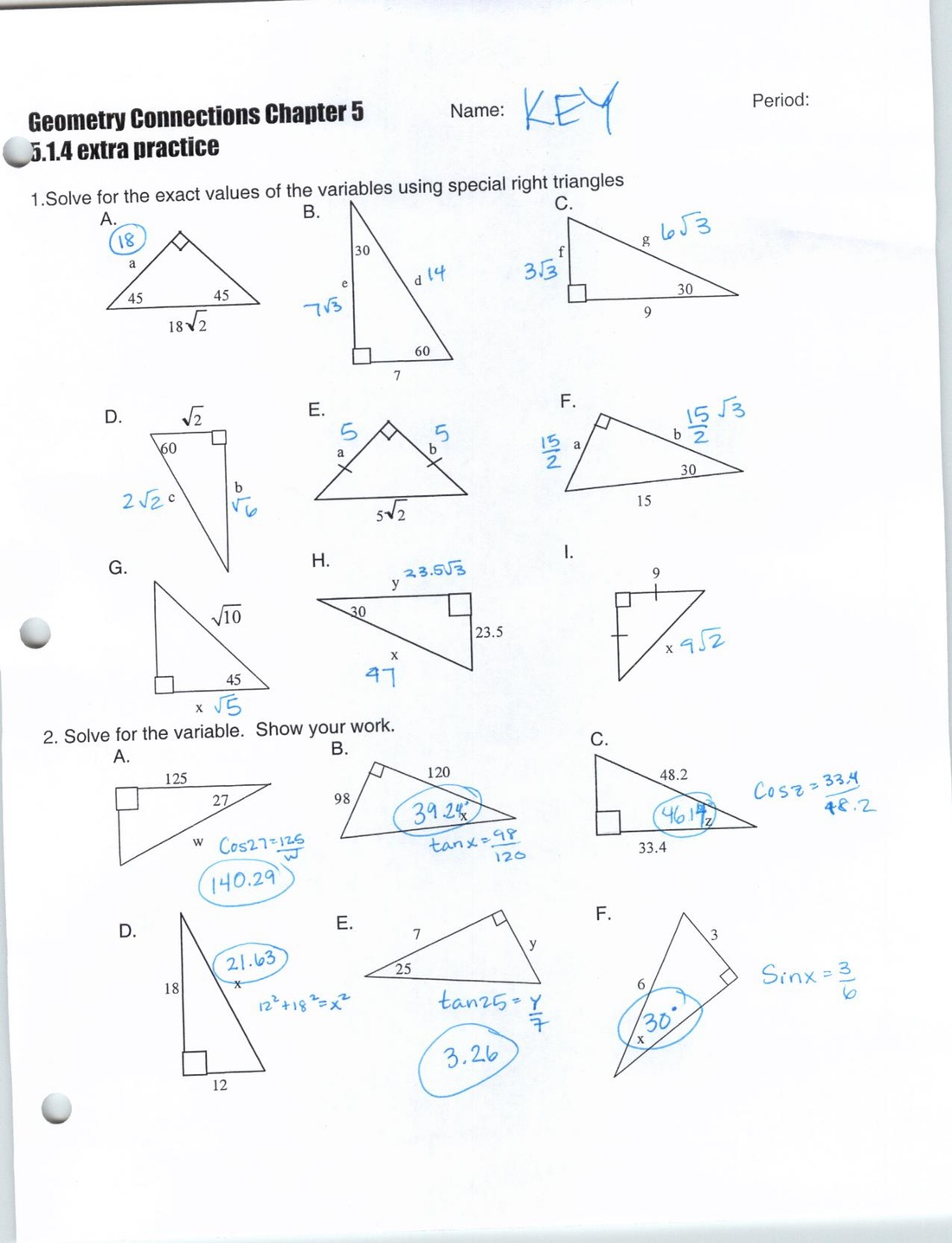 Congruence In Right Triangles Worksheets