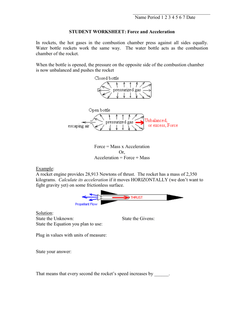 Student Worksheet  Force And Acceleration