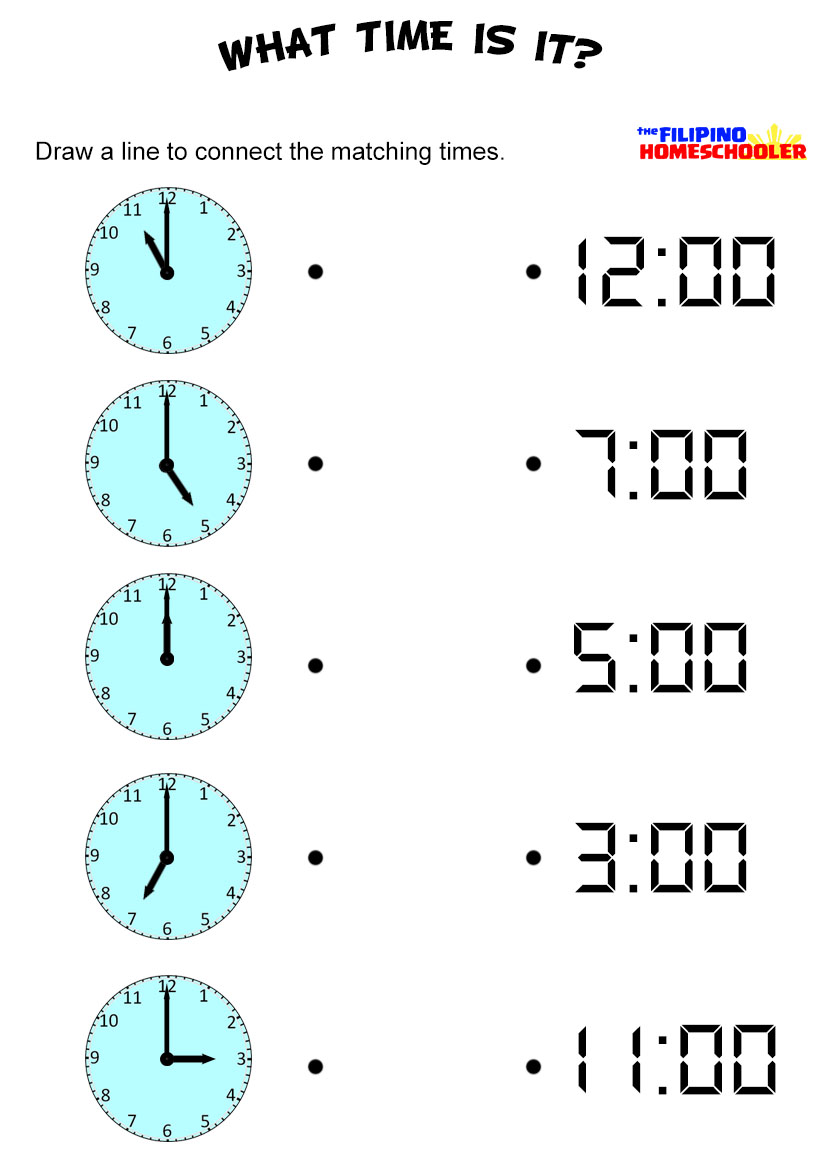Telling Time To The Hour Worksheet Worksheets For All