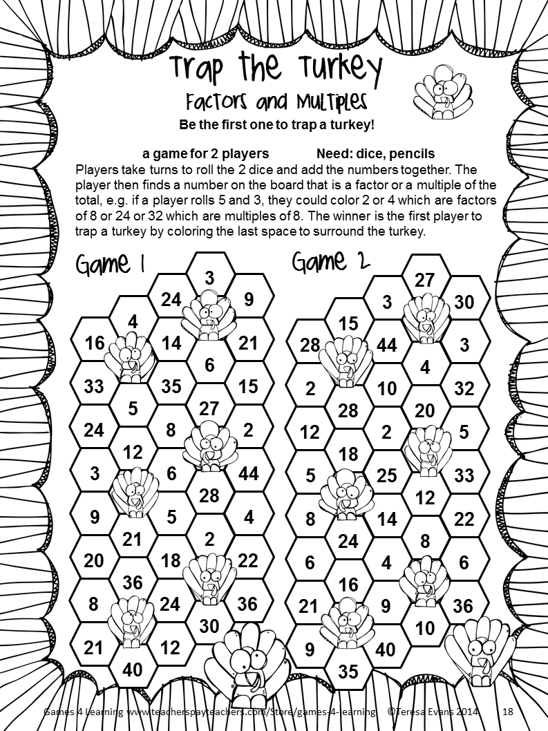 Thanksgiving Math Games Fourth Grade Fun Activities Worksheets