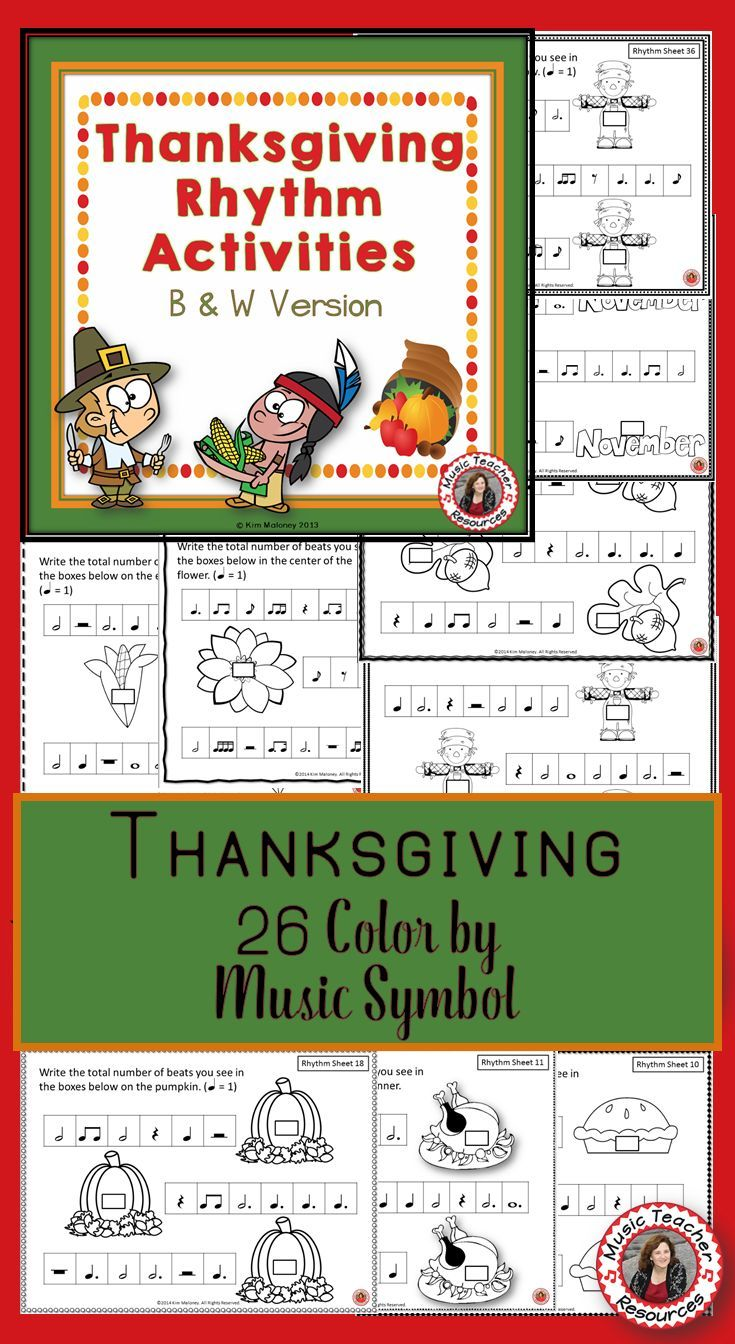 Thanksgiving Music Activities  35 Thanksgiving Rhythm Worksheets