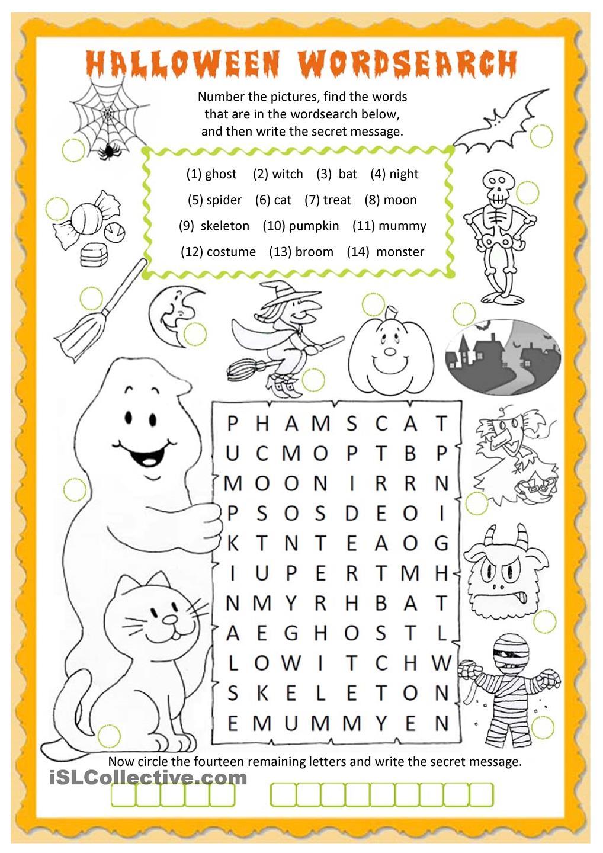 Transform Free Esl Worksheets For Grade 1 On Halloween Wordsearch