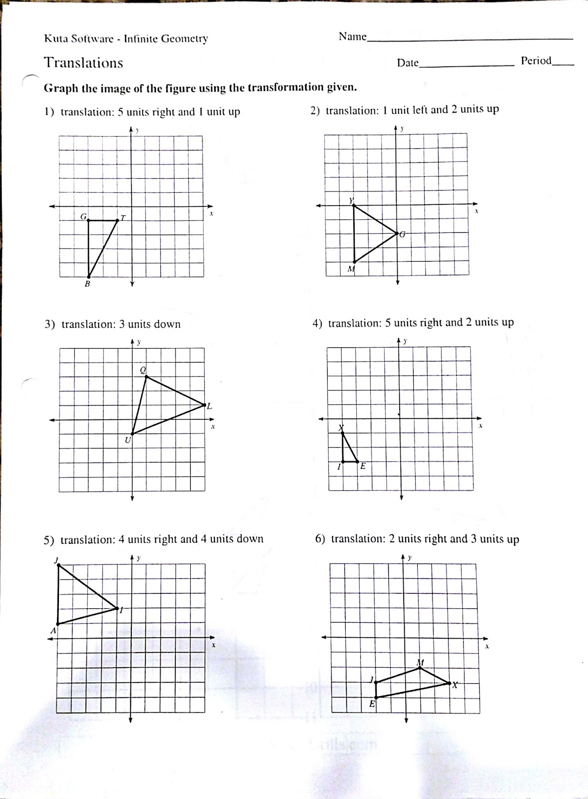 Transformations Rotations Worksheet Worksheets For All