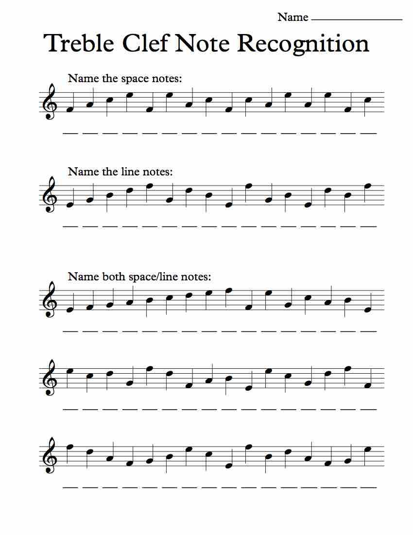 Treble Clef Note Recognition – Worksheet