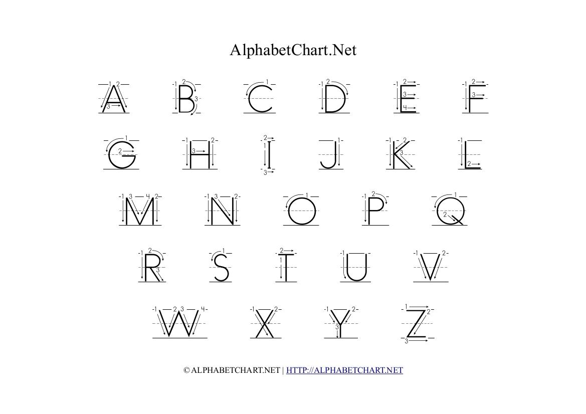 Uppercase Letters Printable Uppercase Alphabet Arrows Chart