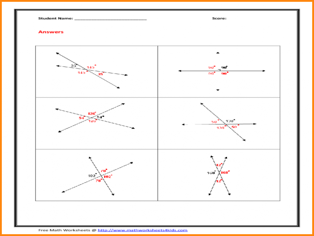 Vertical Angles Worksheet Media Resumed Math Grade Angle