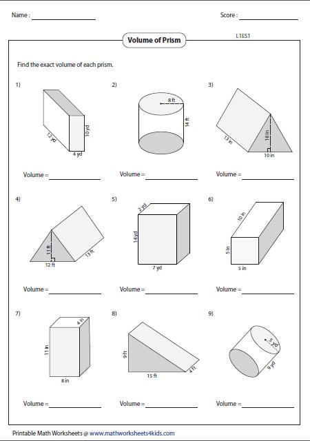 Volume Of Triangular Prisms Worksheet The Best Worksheets Image