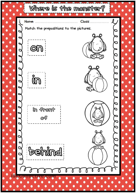 Preposition Worksheets For Preschoolers