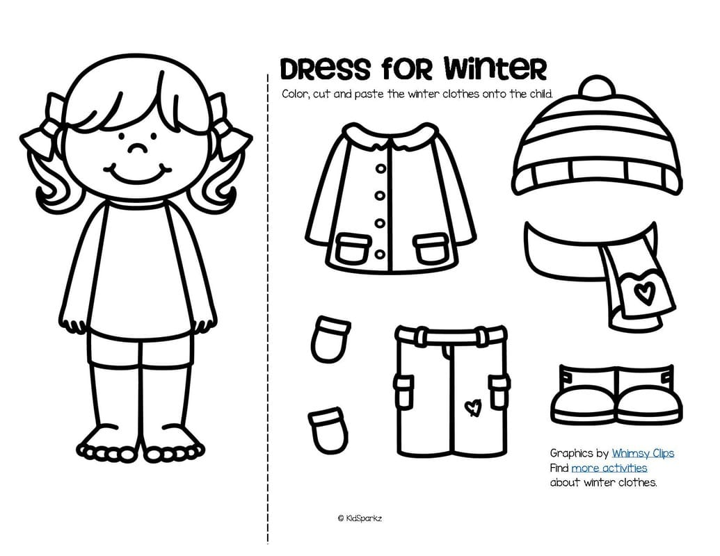 Winter Clothes Worksheets Kindergarten