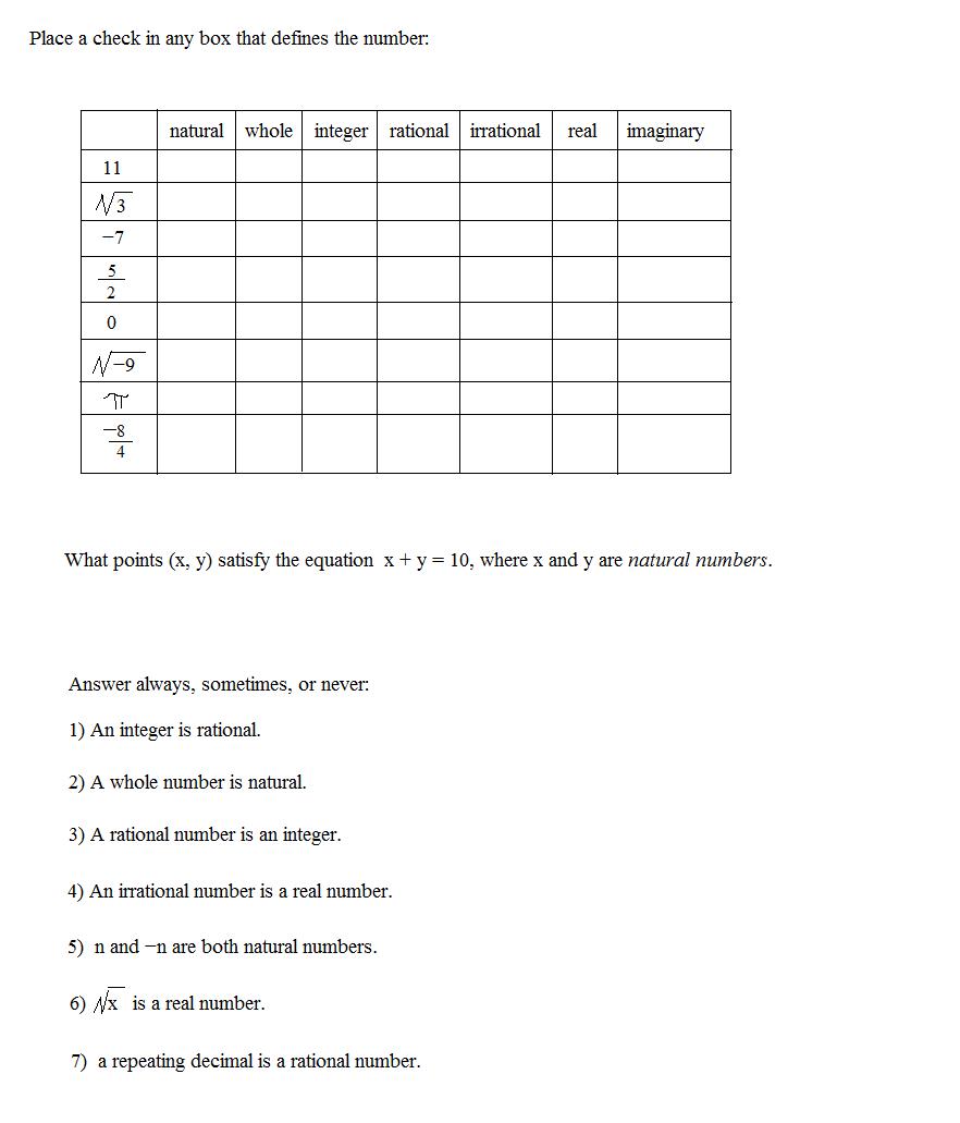 Worksheet  Classifying Real Numbers Worksheet  Grass Fedjp