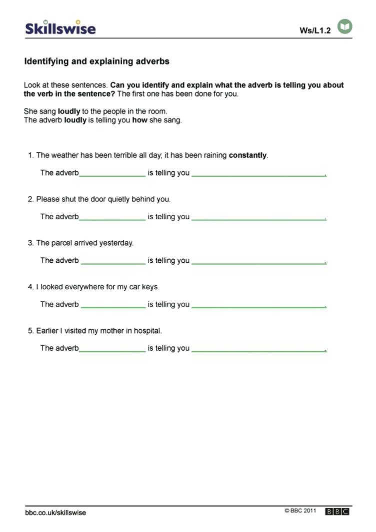 Worksheet  Identifying Adjectives And Adverbs Worksheets Other