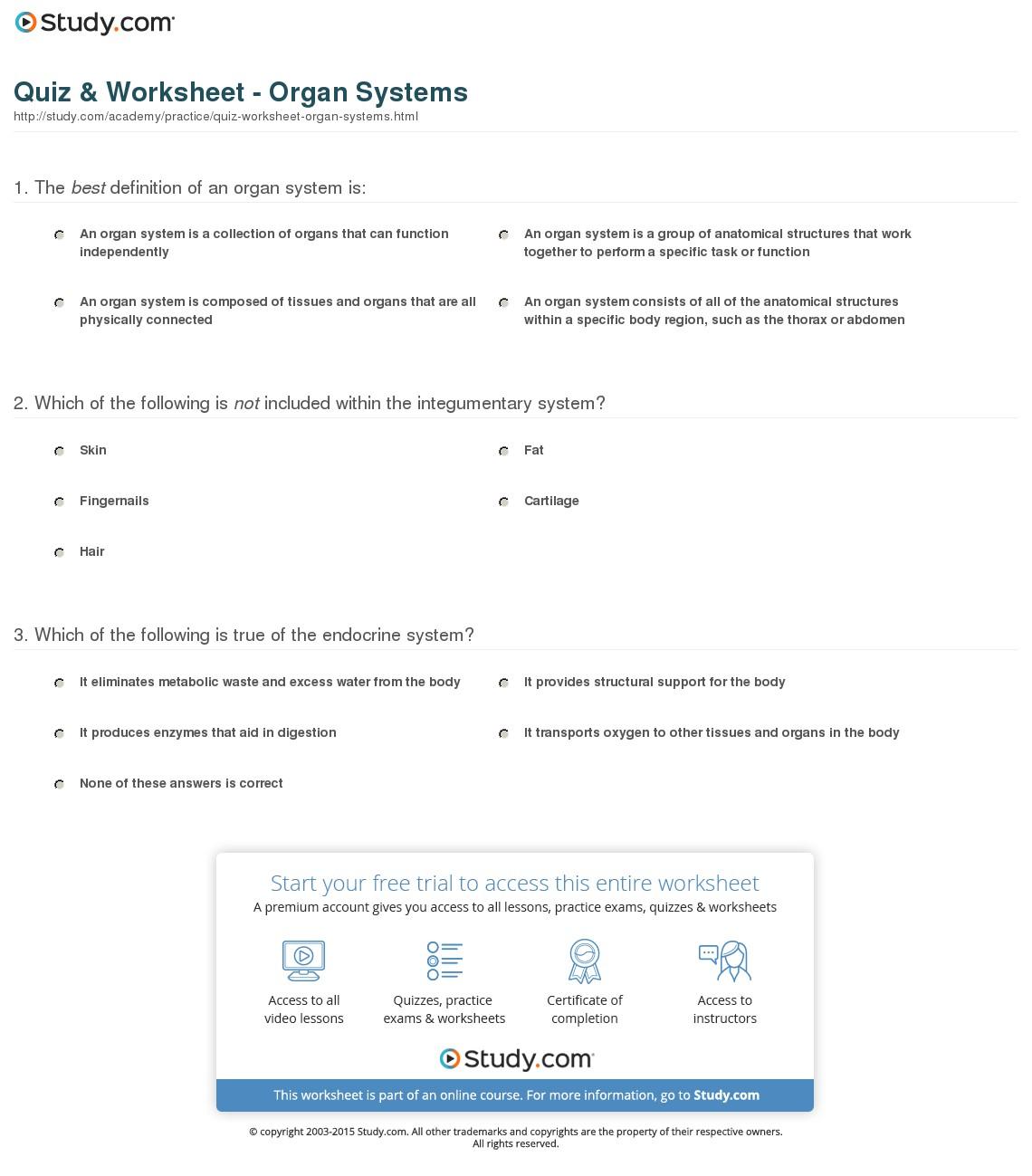 Worksheet  Organ Systems Worksheet  Grass Fedjp Worksheet Study Site