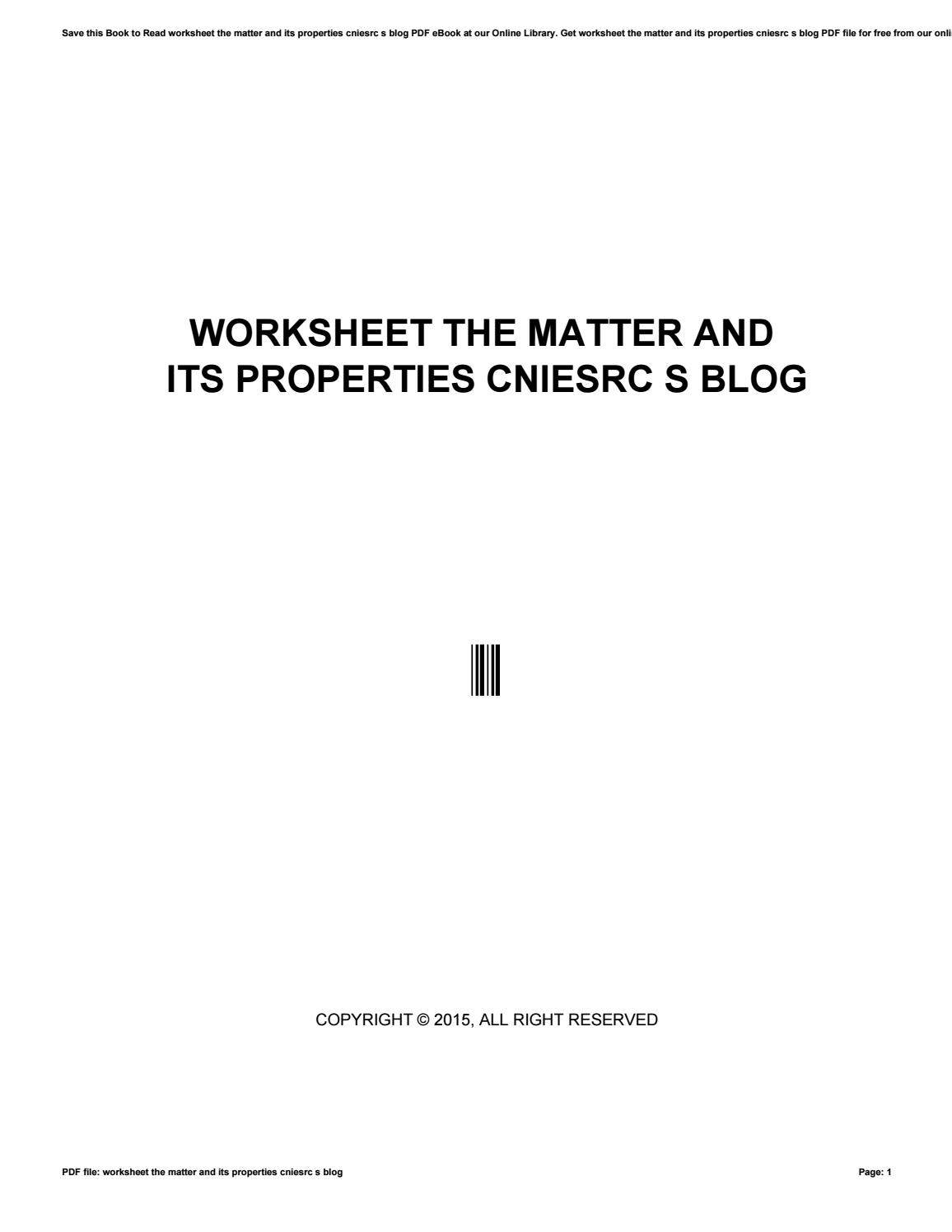 Worksheet The Matter And Its Properties Cniesrc S Blog By