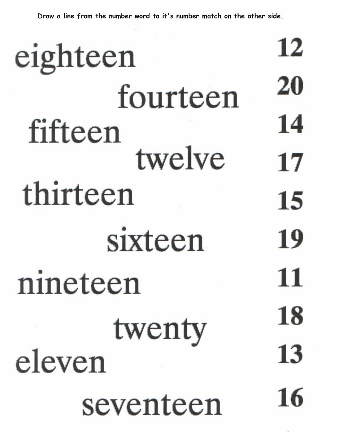 Worksheets On Number Names To 20 Worksheets For All