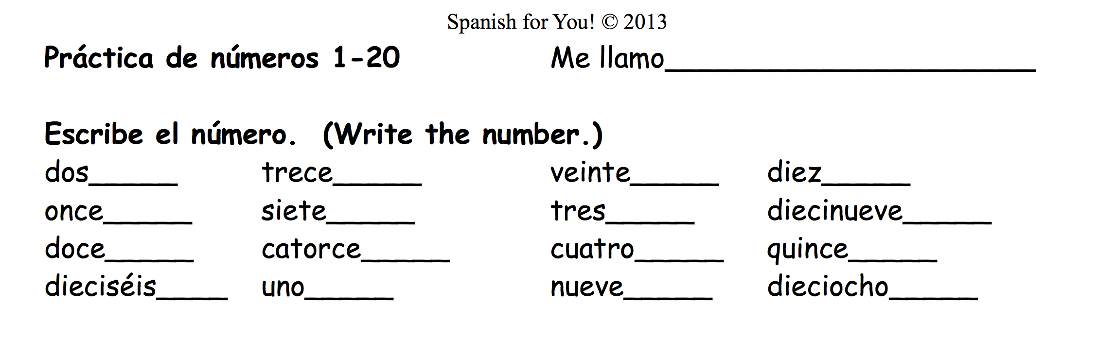 Worksheets With Numbers In Spanish