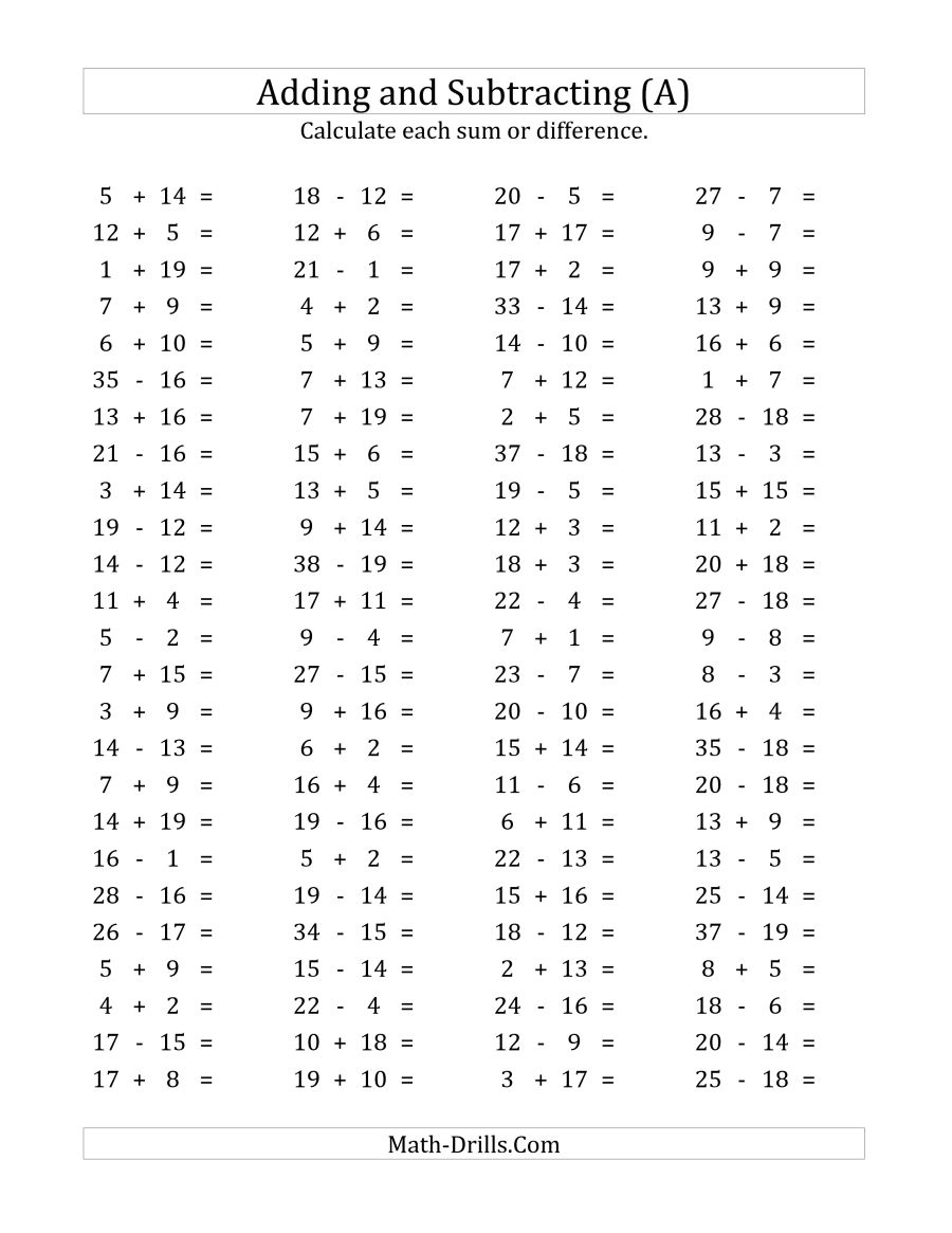 100 Horizontal Addition Subtraction Questions (facts 1 To 20) (a)