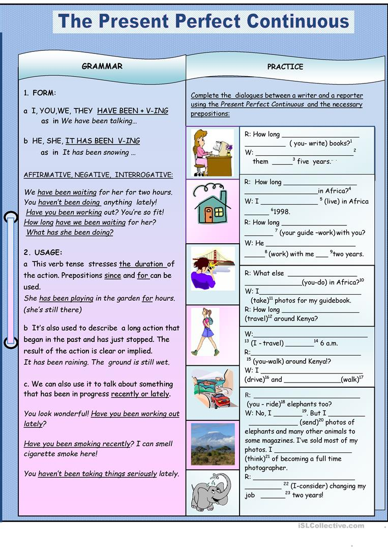 111 Free Esl Present Perfect Continuous Worksheets