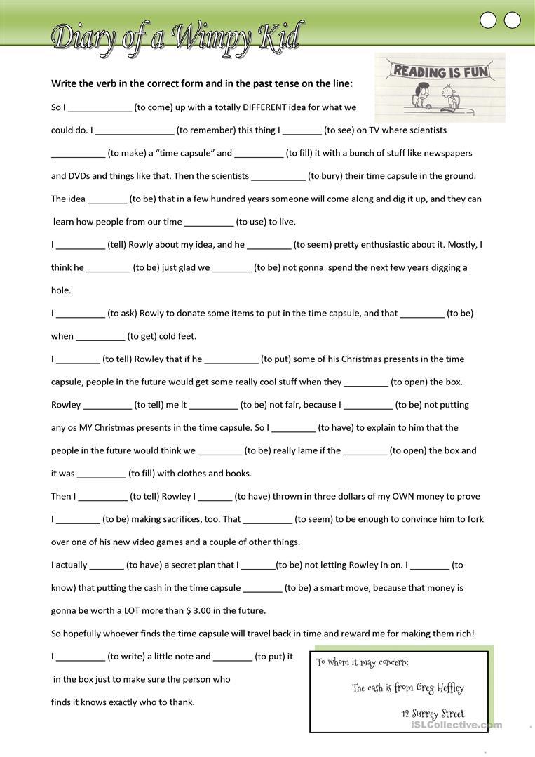 11 Free Esl Wimpy Kid Worksheets