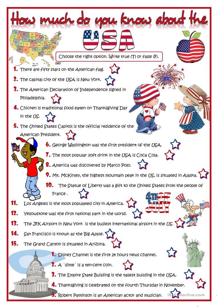 130 Free Esl United States Of America (usa) Worksheets