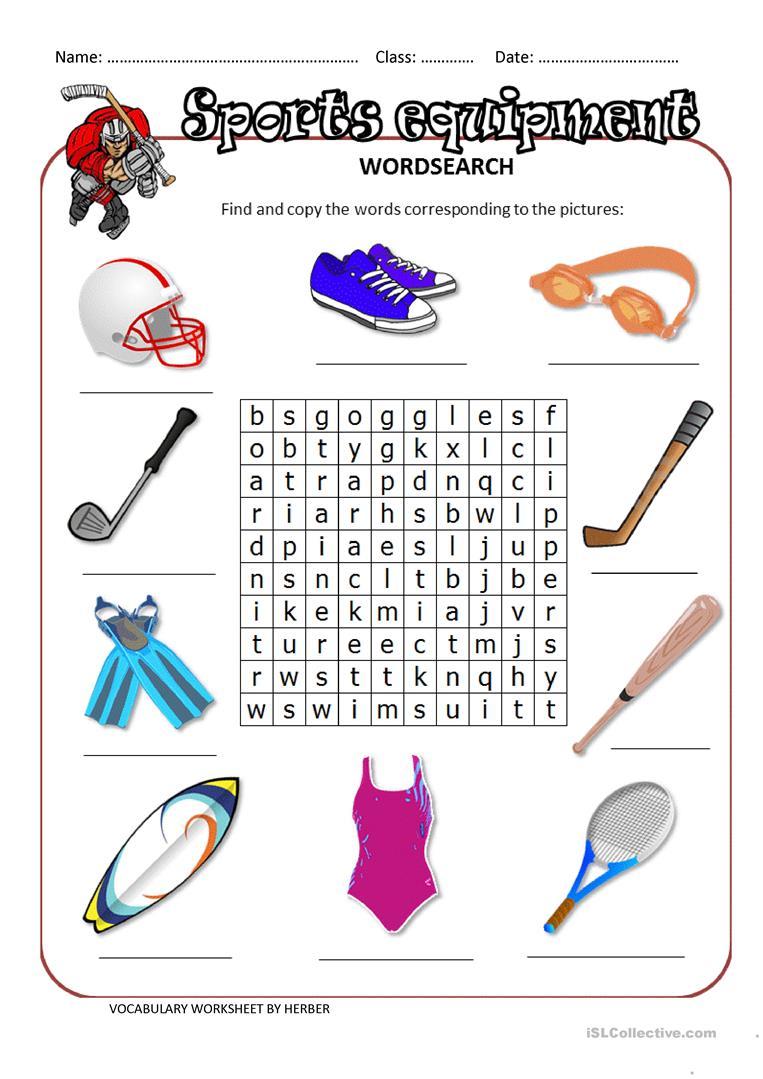 16 Free Esl Sports Equipment Worksheets