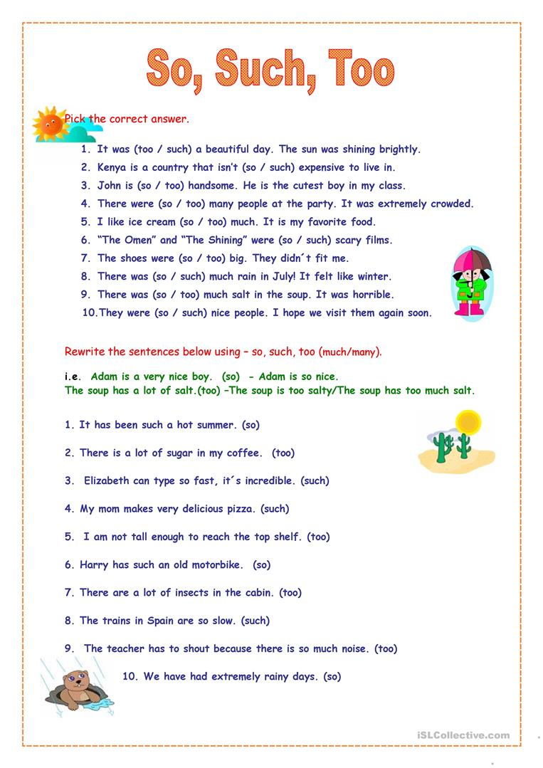 22 Free Esl So Or Such + Adjectives Worksheets