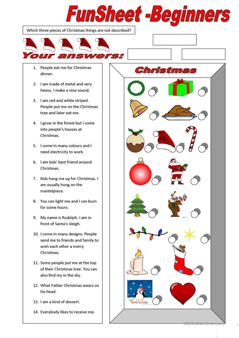 24 Free Esl Christmas Fun Worksheets