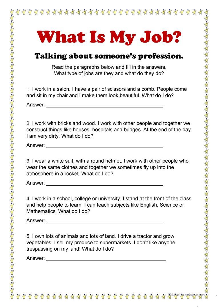 4 Free Esl What Is My Job Worksheets