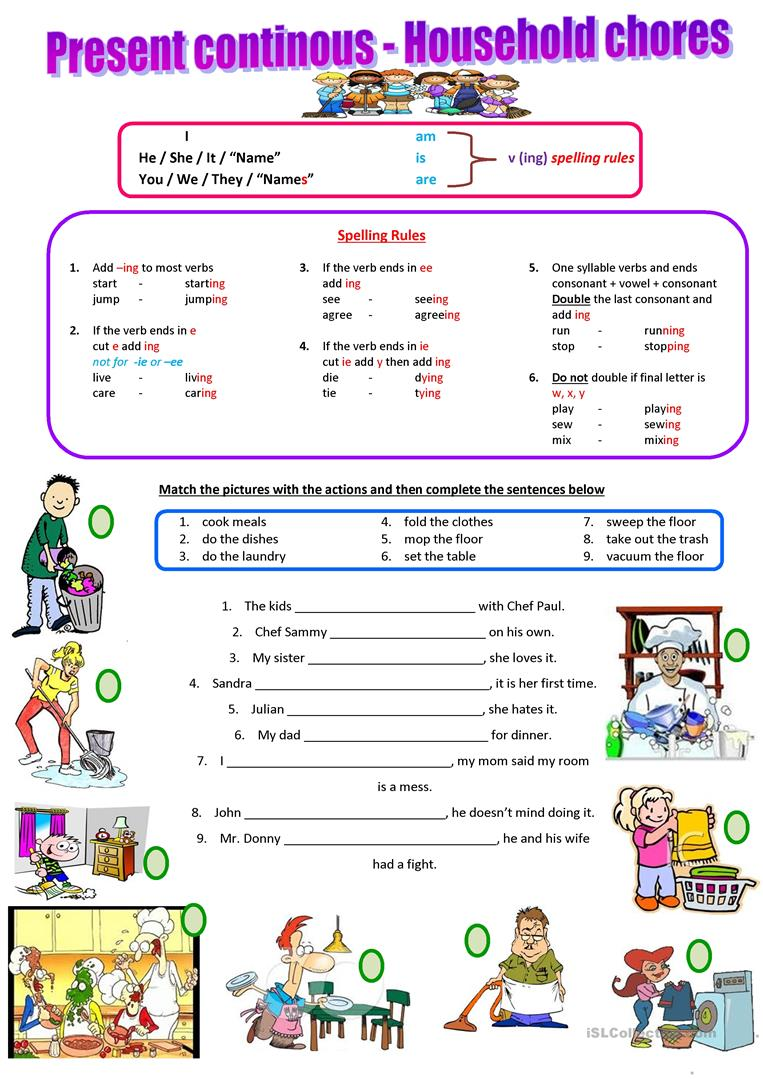 55 Free Esl Household Chores Worksheets