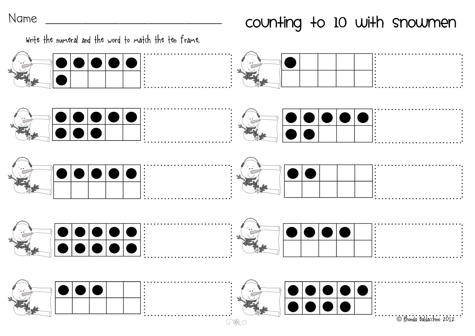 6 Best Images Of Printable Ten Frame Worksheets Blank Double Free
