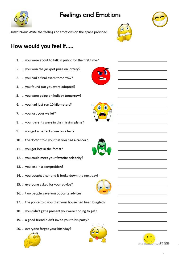 6 Free Esl Emotions Worksheet Worksheets