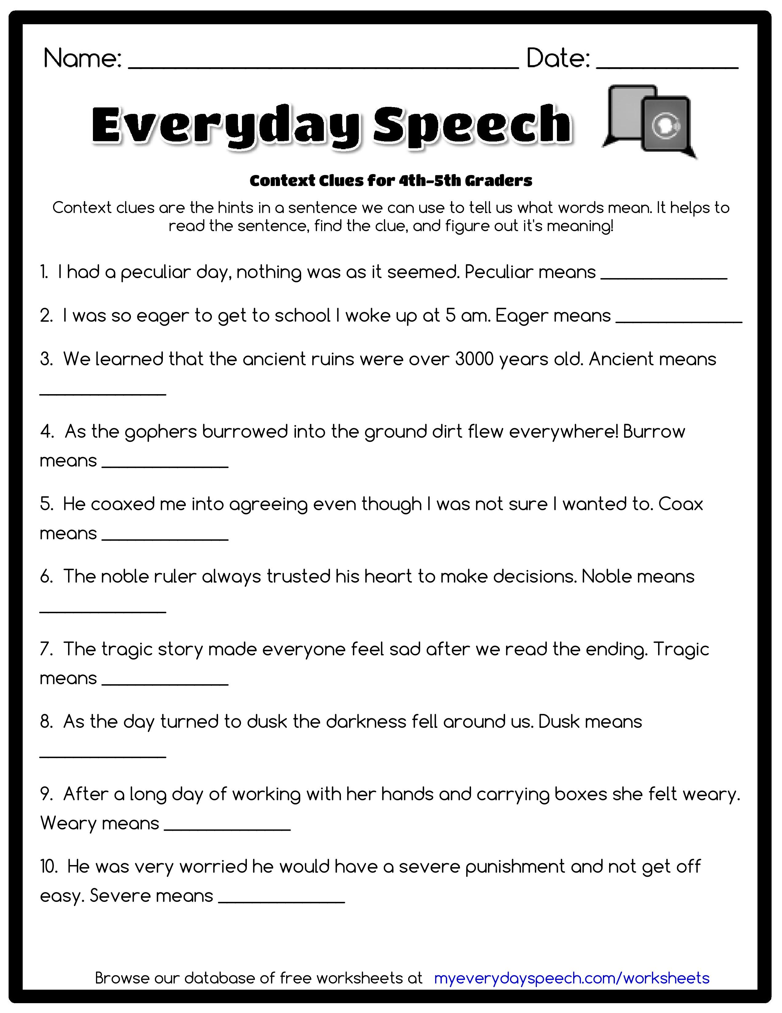6th Grade Context Clues Worksheet