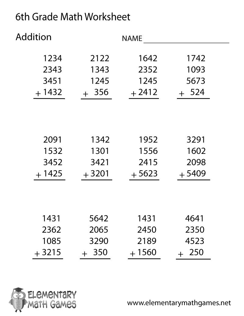 6th Grade Math Practice Sheets