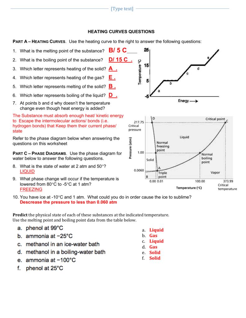 A 2 Heat Curves Phase Diagram Worksheet Key   Worksheets ...