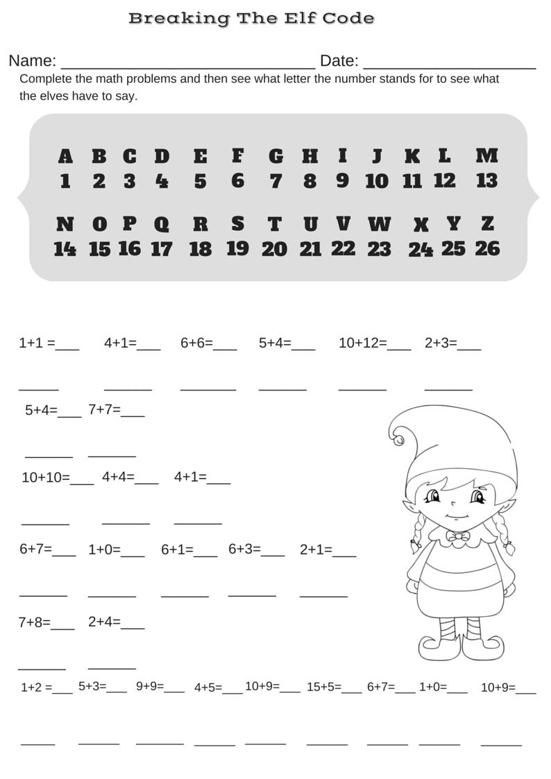 Addition Christmas Code Breaker Worksheet  Break The Elf Code