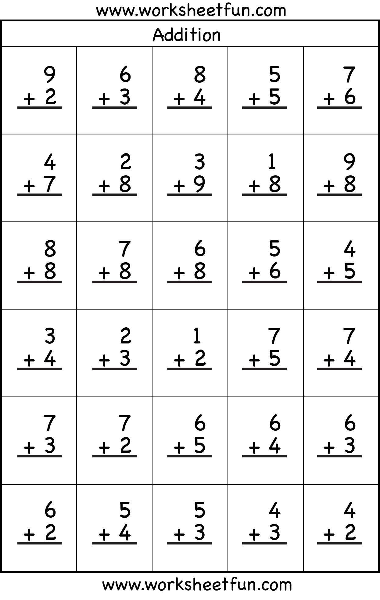 Additions  Simple Addition And Subtraction Worksheet Additions