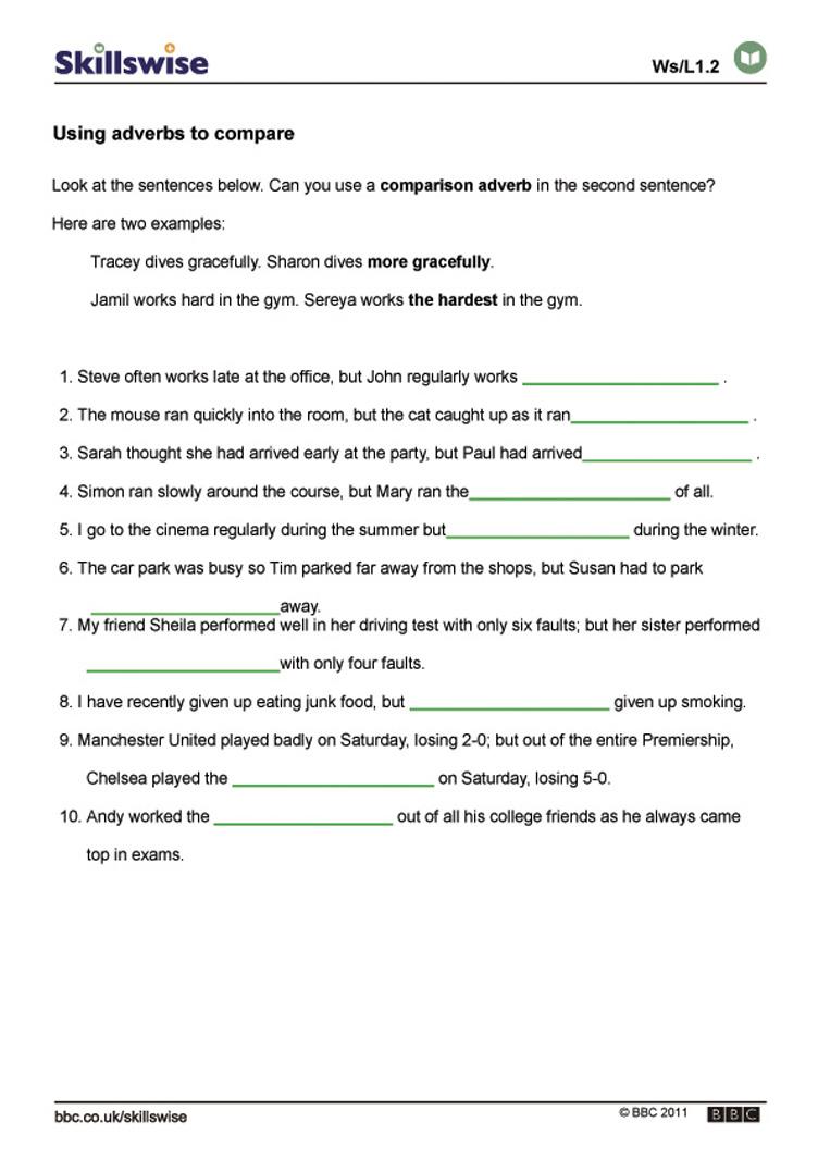 Adverb Worksheet Pdf Worksheets For All