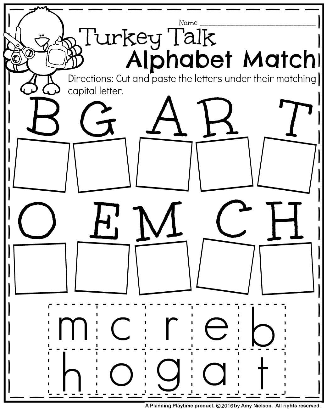 Alphabet Kindergarten Matching Worksheets Worksheets For All