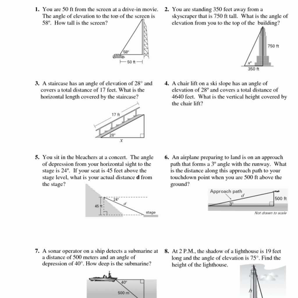 Angles Of Elevation And Depression Worksheet Answers