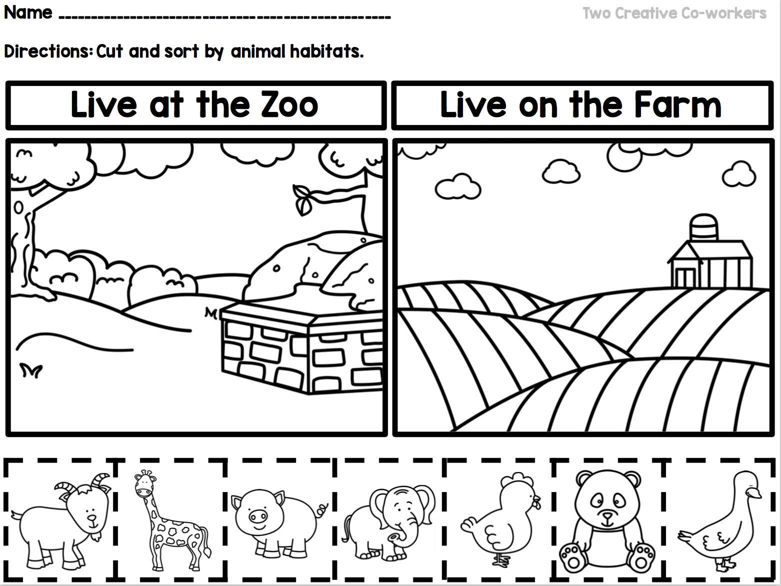 Animal Habitats Worksheets For Kindergarten