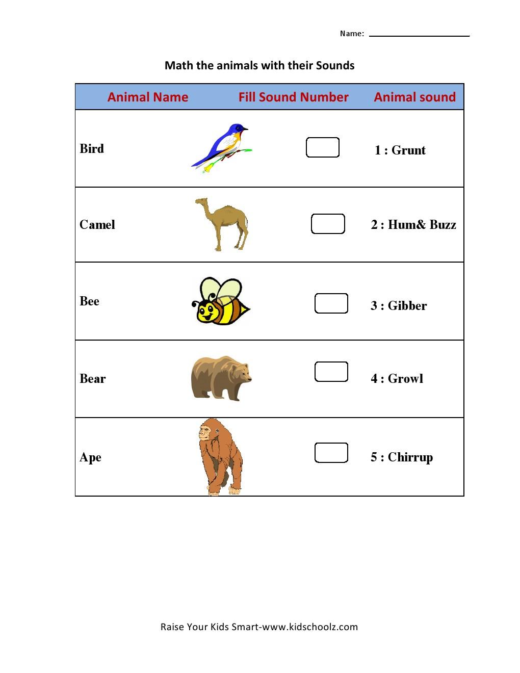 Animal Sound Matching Worksheets Kidschoolz Kindergarten Writing