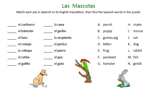 Animals In Spanish Worksheets The Best Worksheets Image Collection