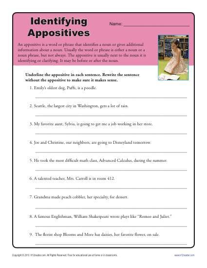 Appositive Worksheet