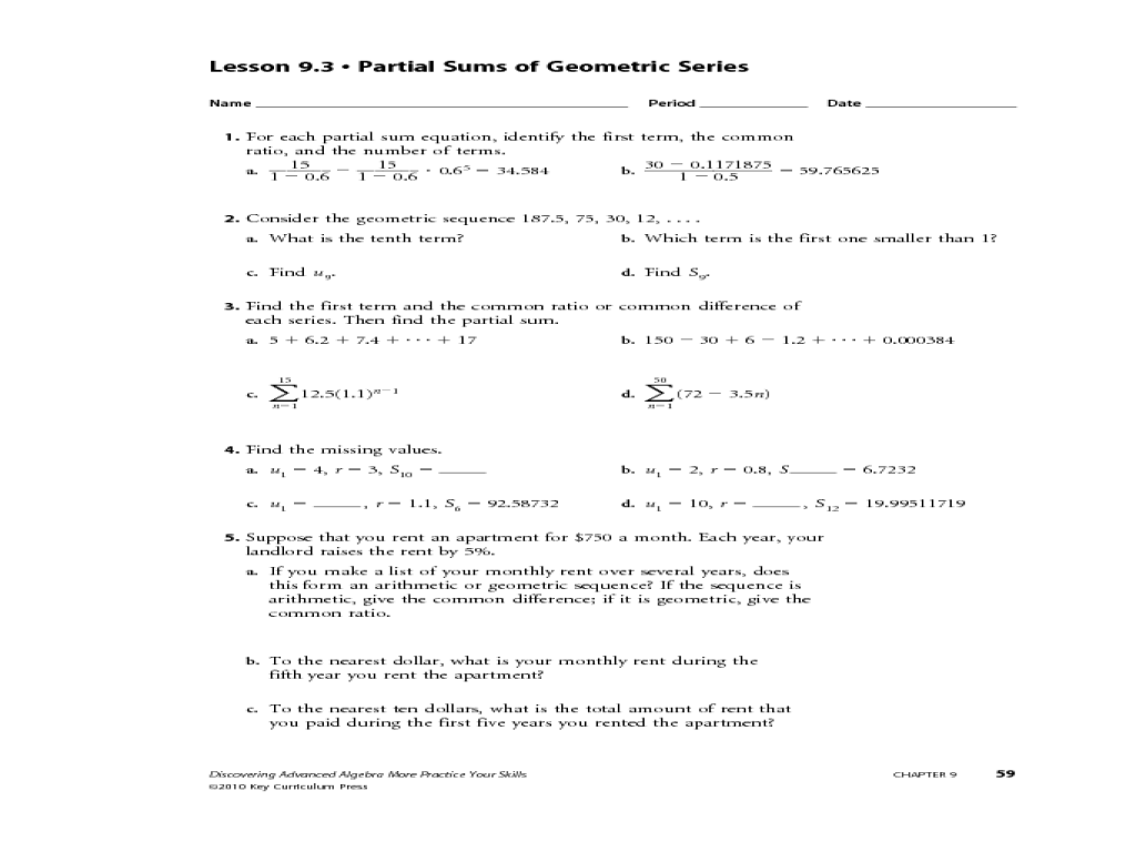 Arithmetic Sequences And Series Worksheets