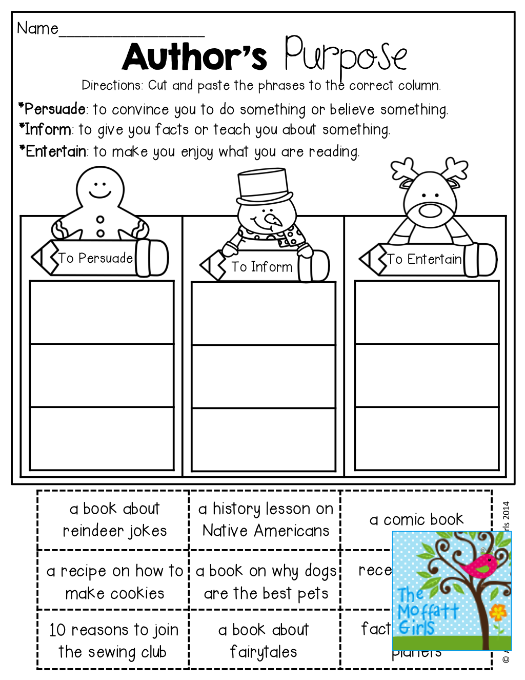 Author's Purpose Worksheets 7th Grade