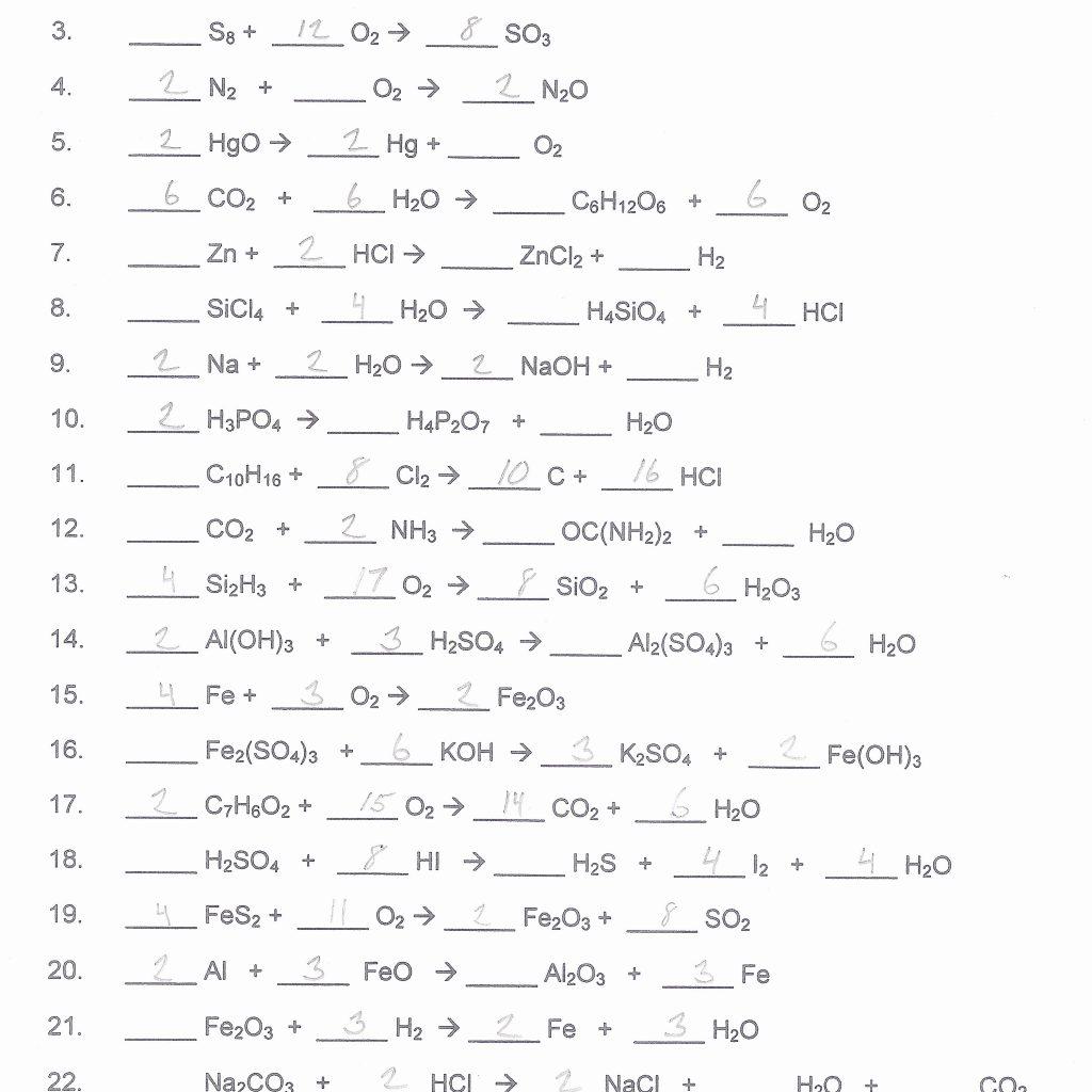 Balancing Equations Worksheet 2 Answers