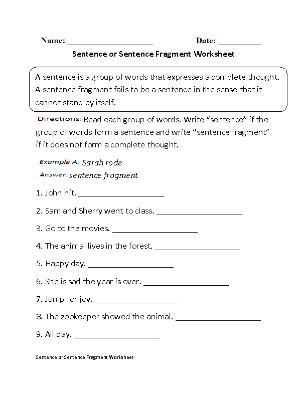 Bunch Ideas Of Fragment Worksheets For High School On Download