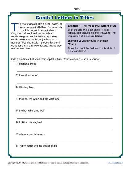 Capitalizing Book Titles Worksheets The Best Worksheets Image